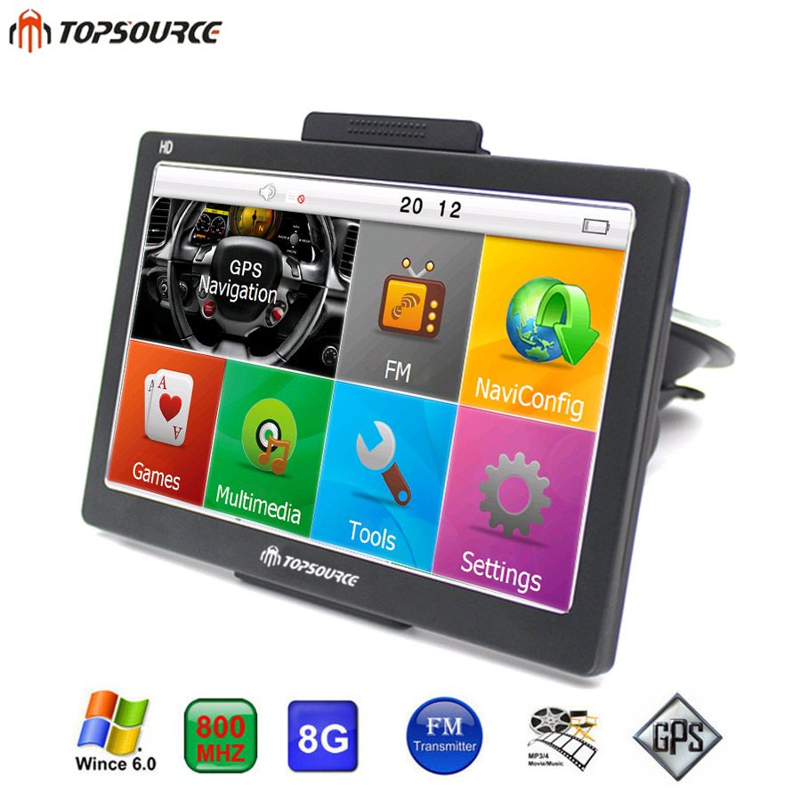 TOPSOURCE HD 7'' Car GPS Navigation navigator FM WinCE 6.0 8GB 800MHZ Map Free Upgrade Spain/Europe/USA+Canada Truck GPS Sat nav