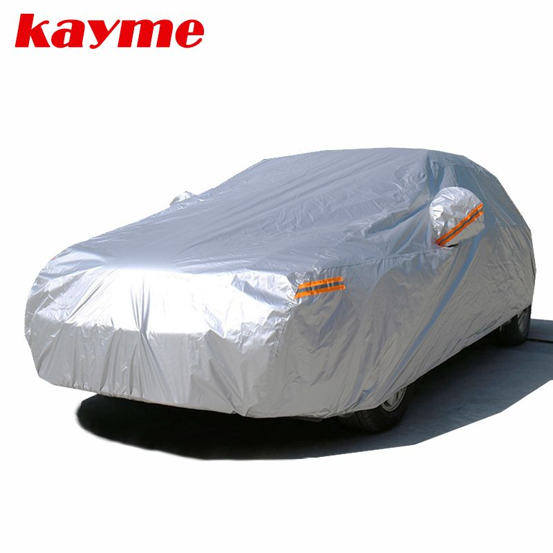 Kayme waterproof car covers outdoor sun protection cover for car reflector dust rain snow protective suv sedan hatchback full s