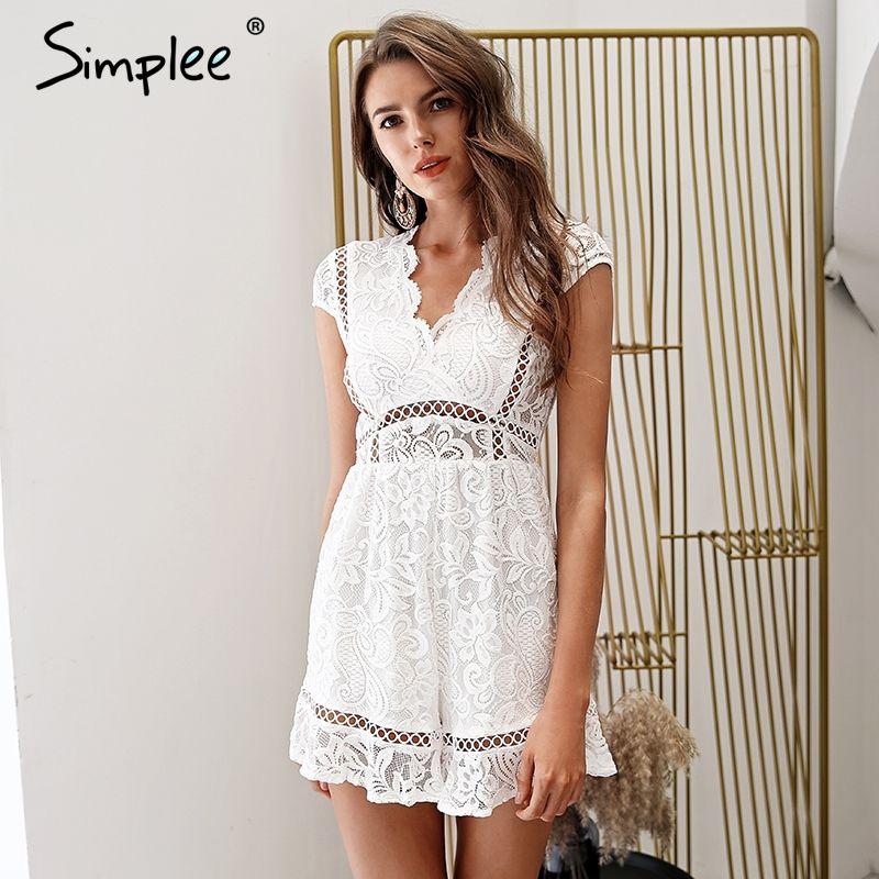Simplee Elegant v neck lace rompers womens jumpsuit Ruffle hollow out sexy playsuit 2018 Summer boho white overalls female