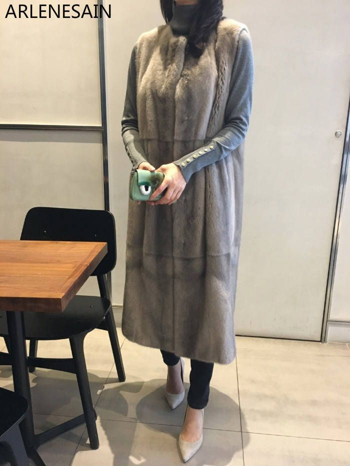Arlenesain custom New Imported Long Strapping Mink Fur women vest