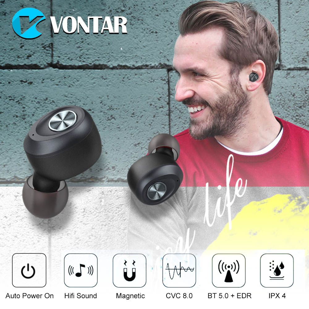 IP010-A Binaural Call Bluetooth V5.0 Wireless Headphones Noise Cancel Invisible TWS Headsets Auto Pair Sports Portable Earbuds