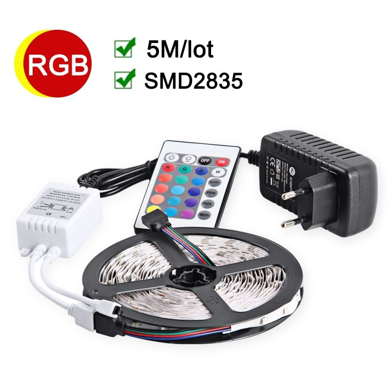 RGB LED Strip 5M 60Leds/m Flexible LED light 2835 SMD DC12V 2A Power Adapter IR Remote Controller Holiday Decor RGB Lamps