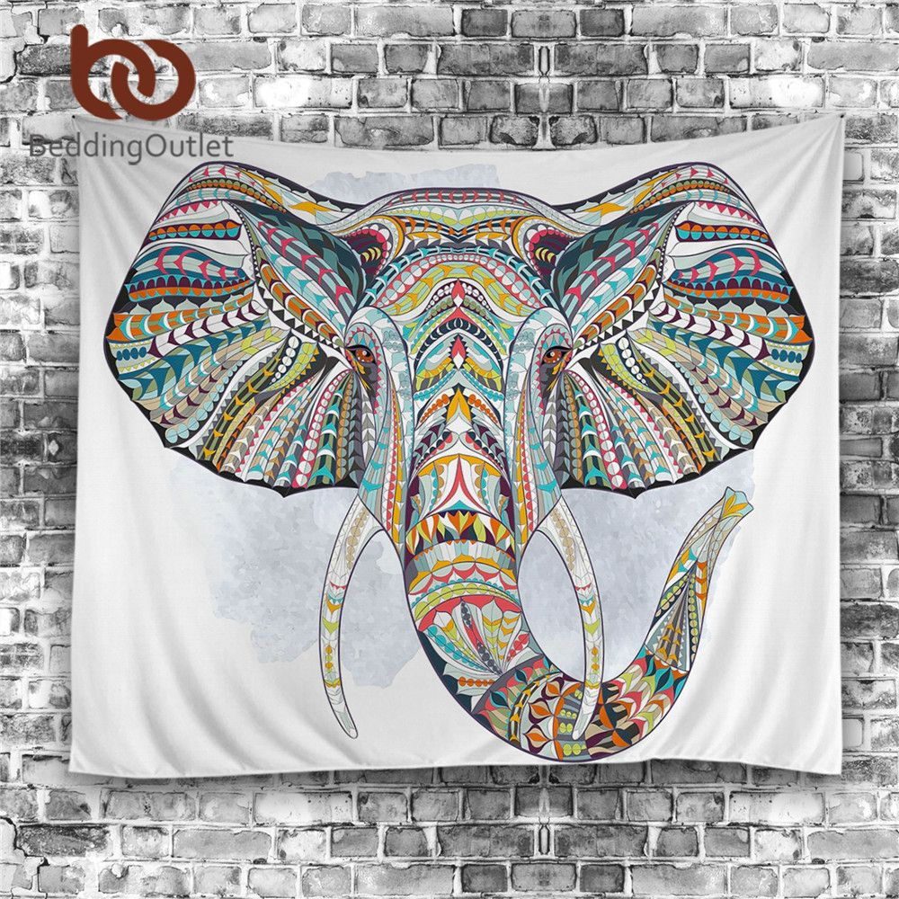 BeddingOutlet Elephant Tapestry Wall <font><b>Hanging</b></font> Animal Wall Carpet Twin Hippie Tapestry Bohemian Hippy Home Decor Bedspread Sheet