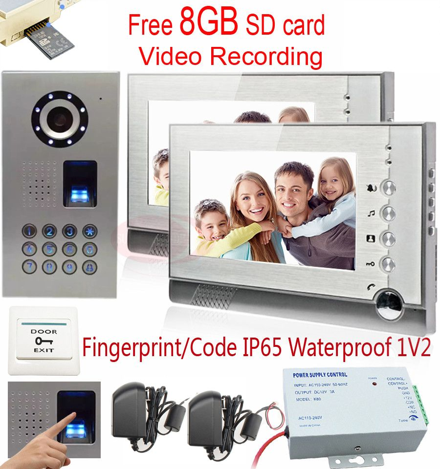 Video Intercom Recording 8GB SD Card Video Recording 2 Monitors Doorphone Fingerprint/Code Unlock CCD Camera IP65 Waterproof