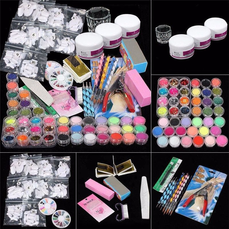 Top sell 1SET 37 Professional Acrylic Glitter Color Powder French Nail Art Deco Tips Set