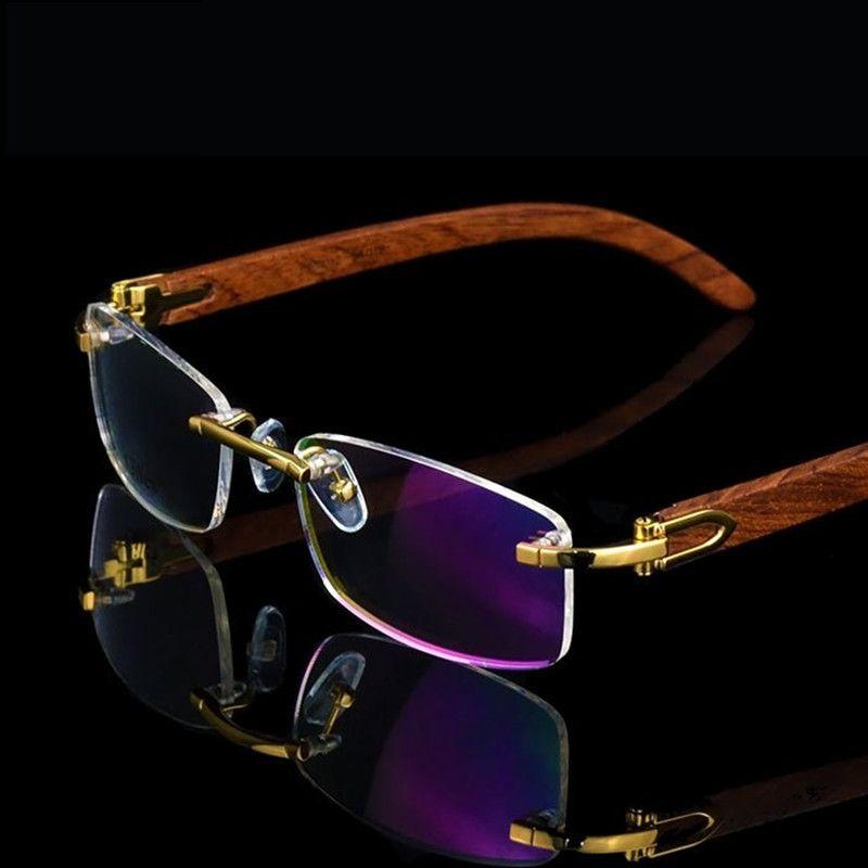 Vazrobe bois lunettes cadre hommes sans monture lunettes cadres en bois or Prescription lunettes de mode marque lunettes sans cadre