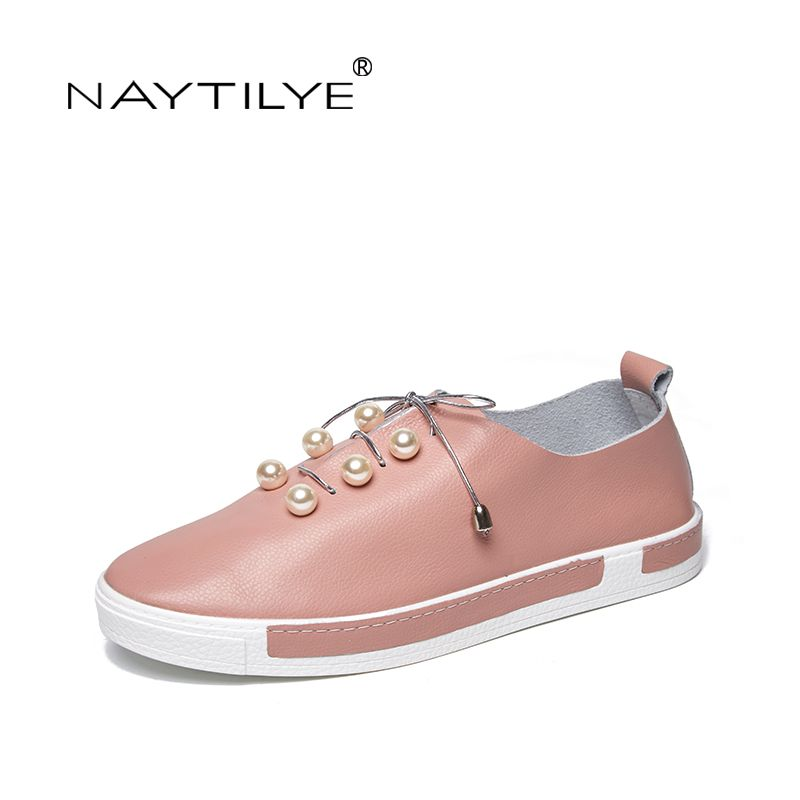 NAYTILYE 2018 New Women's Flats Comfortable Leather Color black Light pink white size 35-43