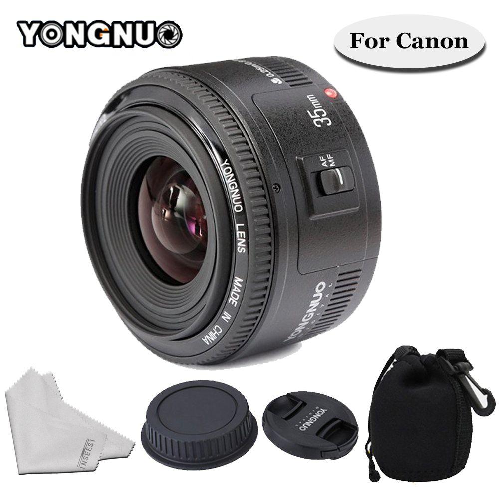 Objectif YONGNUO 35mm F/2 YN35mm objectif de mise au point automatique grand angle à grande ouverture fixe pour appareil photo Canon 6d 60d 5d mark iii 550d 1100d 650