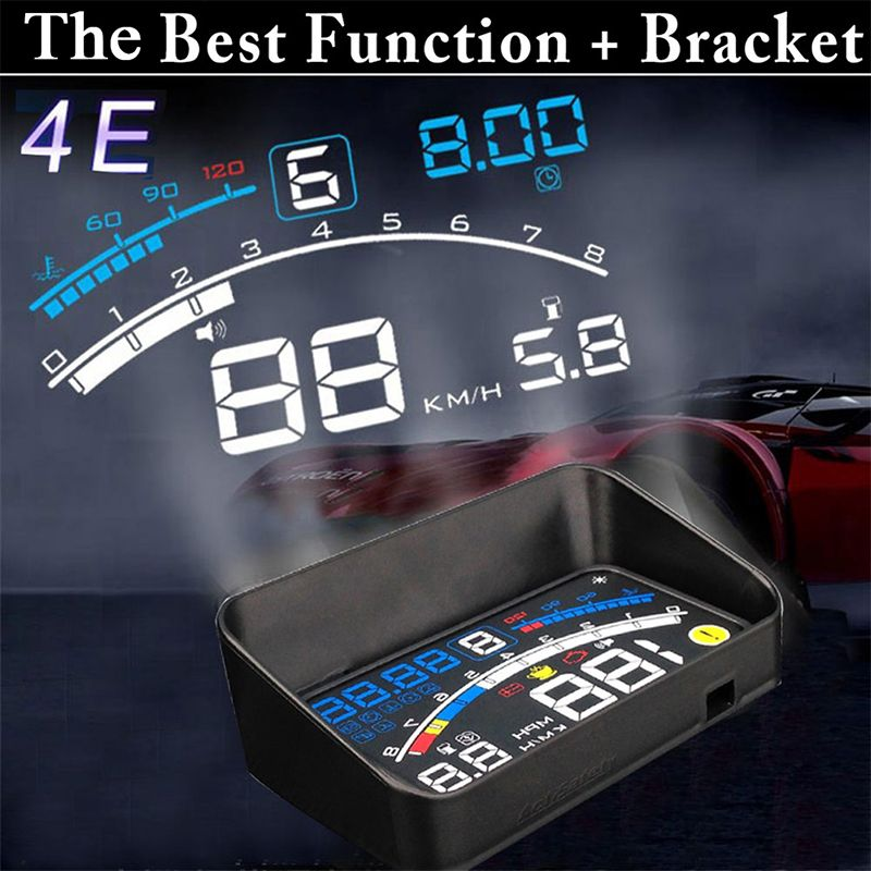 4E 5.5 Head Up Display HUD OBD II EOBD Windshield Projector Self-adaptive Car Fuel Parameter Display Speeding Warning + Bracket