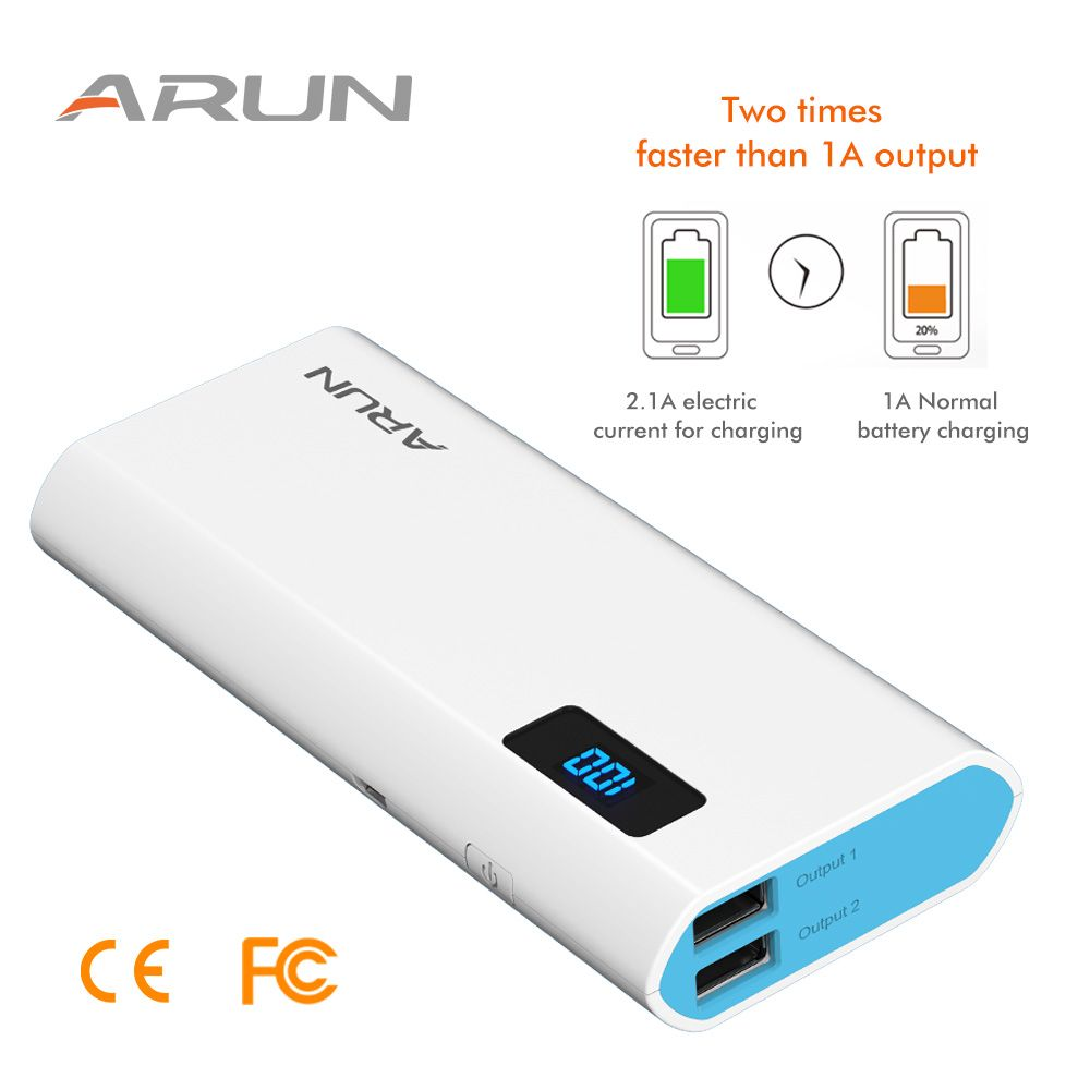 ARUN Power Bank 10000mAh powerbank for Xiaomi mi iPhone X 8 Portable External Battery Charger for Cell Huawei P20 Pro Powerbank