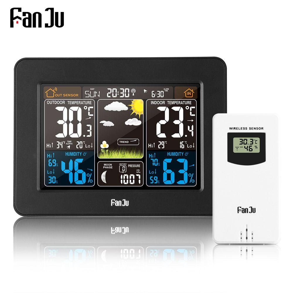 Fanju FJ3365B Беспроводной Цифровая метеостанция Цвет прогноз сигнализации и повтор термометр гигрометр Сенсор многофункциональные часы