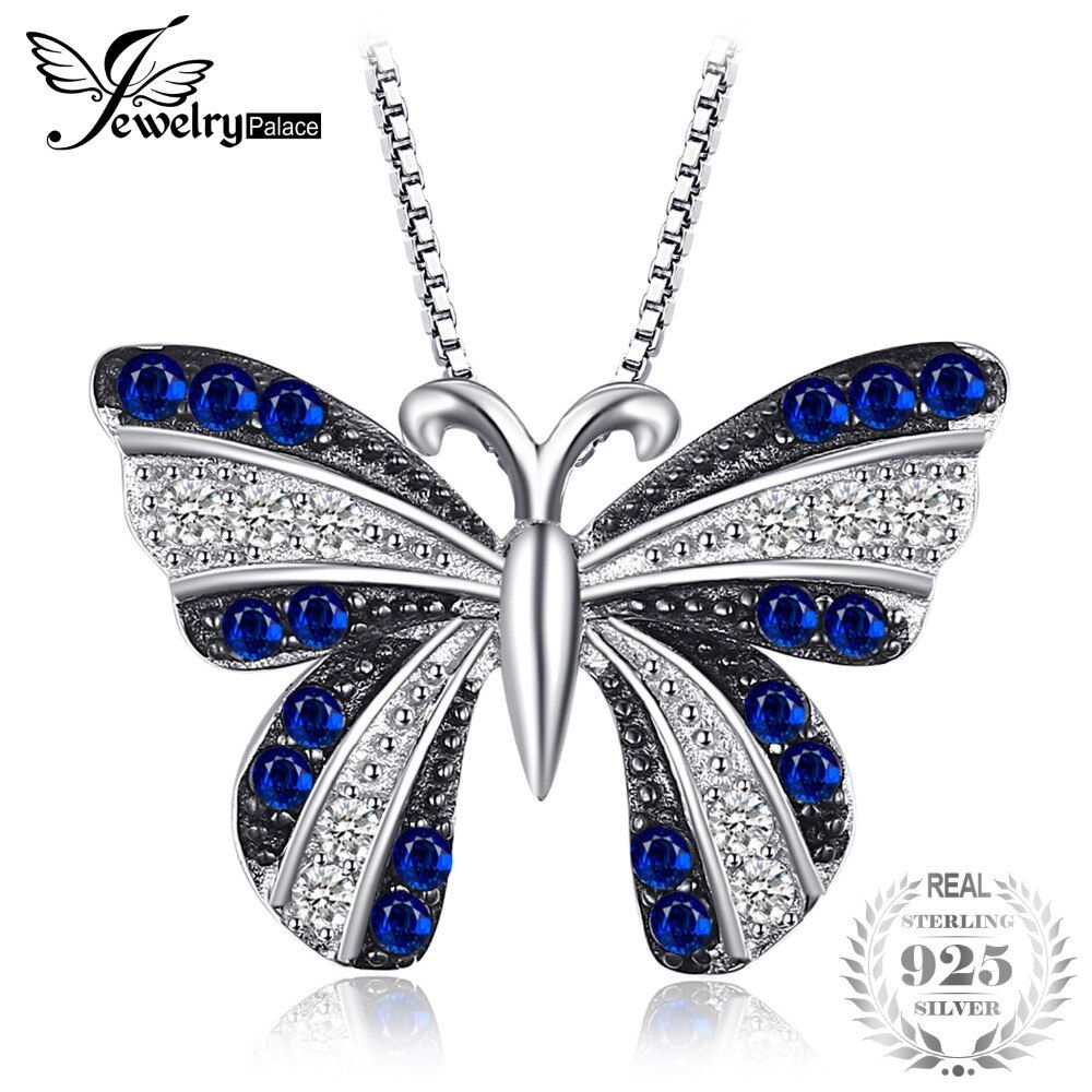 JewelryPalace Butterfly 0.4ct Created Blue Spinel Pendant Necklaces 925 Sterling Silver Jewelry 45cm Box Chain Charm Choker