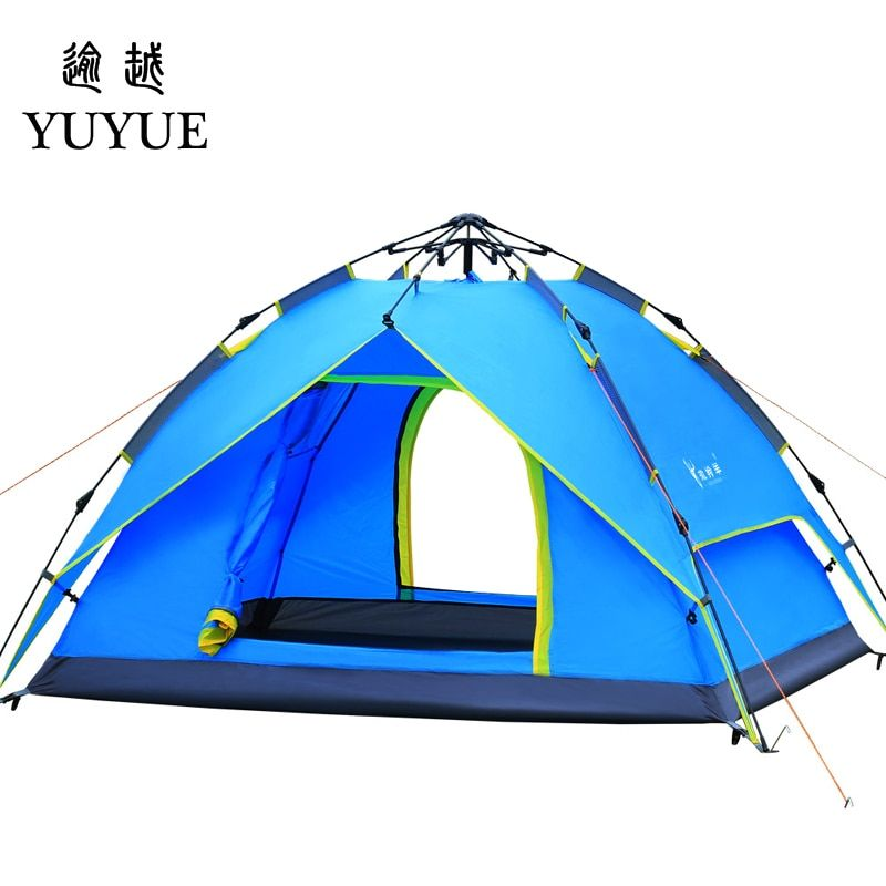 3-4 Person Pop Up Tent Quick Automatic Opening Waterproof Camping Equipment Tourism Travel Outdoors Double Layers Camping Tents