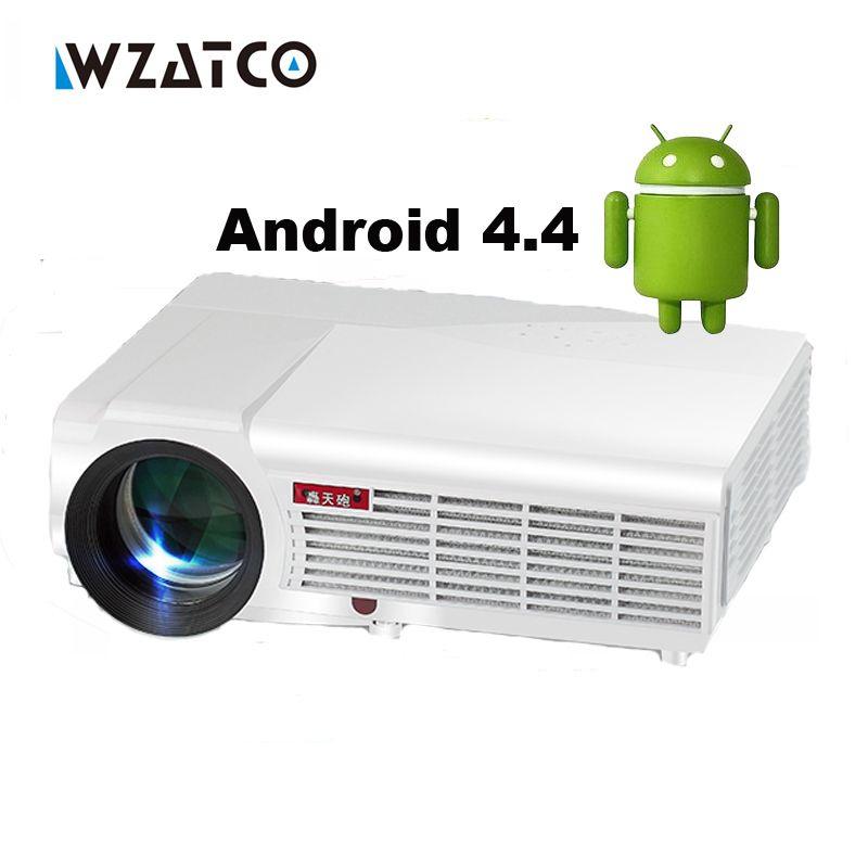 Wzatco светодиодный 96 Вт Android WiFi светодиодный DTD ТВ проектор 1080 P 5500lu Full HD 3D домашний кинотеатр ЖК-видео HDMI proyector Projektor Бимер