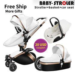 USA EU free ship!Brand 3 in 1 baby stroller aluminium alloy baby pram leather two-way shock baby trolley carriage Aulon Babyfond
