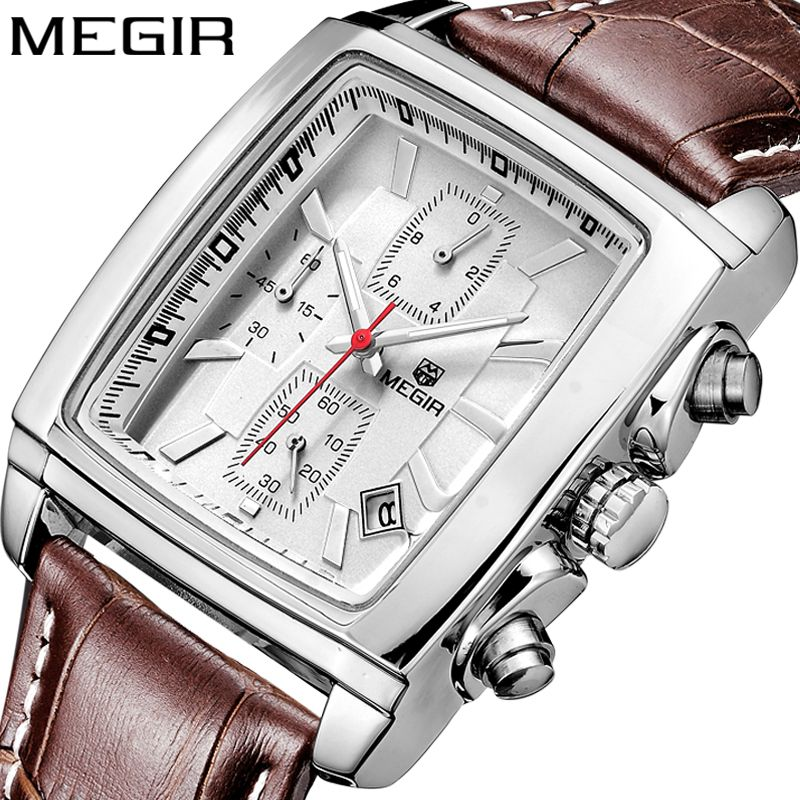 MEGIR Original Watch Men Top Brand Luxury Quartz Military Watches Leather Wristwatch Men Clock Relogio Masculino Erkek Kol Saati