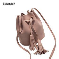 Bokinslon Gland Sacs à Bandoulière Filles PU En Cuir Rétro Femme Bandoulière Sacs Solide Couleur Mode Cordon Femelle Sacs