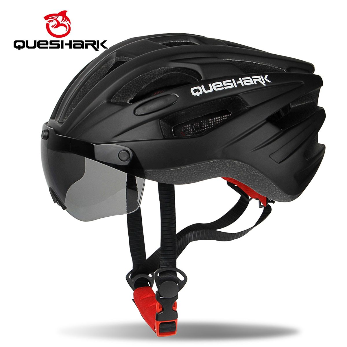 QUESHARK Windproof Bicycle Helmet Safety Riding Caps Breathable Mountain Road MTB Bike Helmets with Goggles Removable Lens