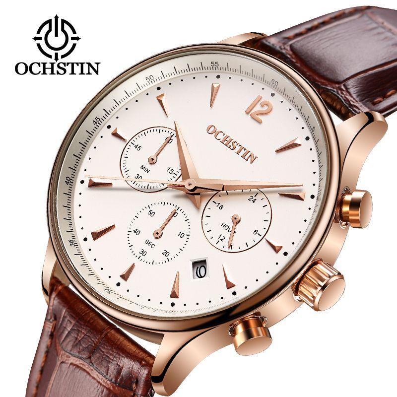 2019 hommes d'affaires montres Top marque de luxe étanche chronographe montre homme en cuir Sport Quartz montre-bracelet hommes horloge mâle