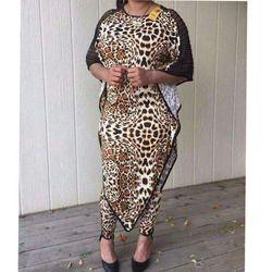 Dashiki Afrika Baru Fashion Suit (Baju dan Celana Panjang) lengan Kelelawar Butir Macan Tutul Seksi Suit Super Elastis Afrika untuk Lady (BW01 #)