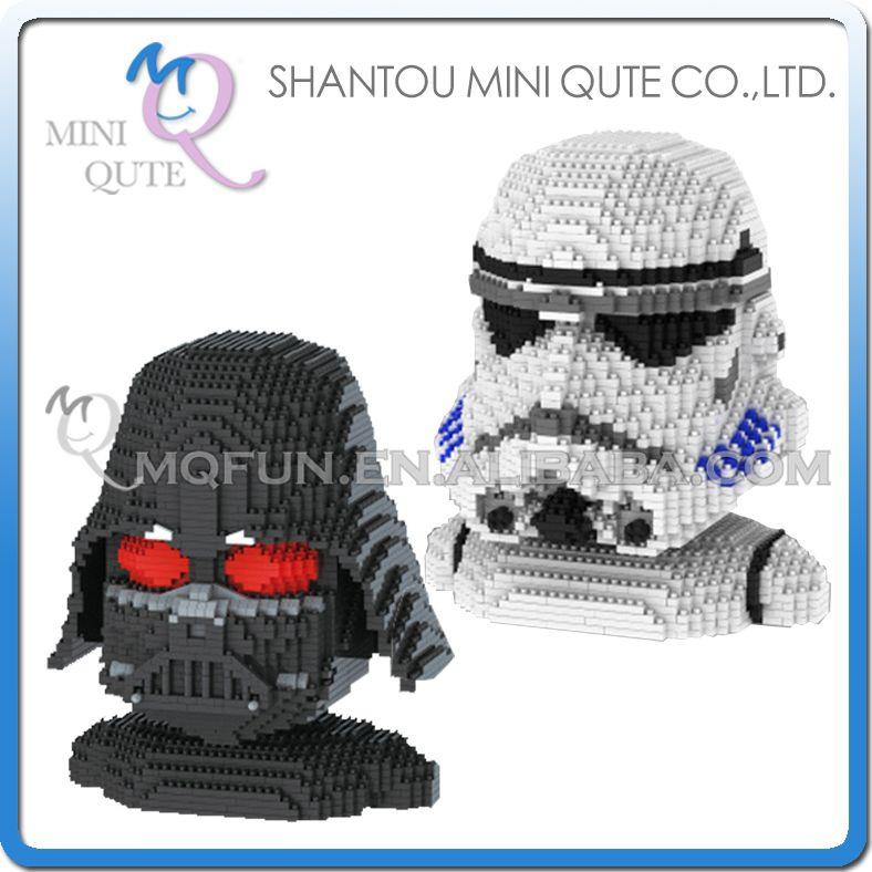 Full set 2 pcs Mini Qute YZ star wars Stormtrooper Darth Vader super hero kids plastic building block boys educational gift toy