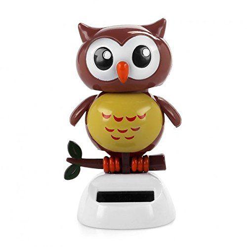 SHGO Heißer Solarbetriebene Tanzen vogel Big Eye Brown Eule, Neuheit Schreibtisch Auto Spielzeug Ornament