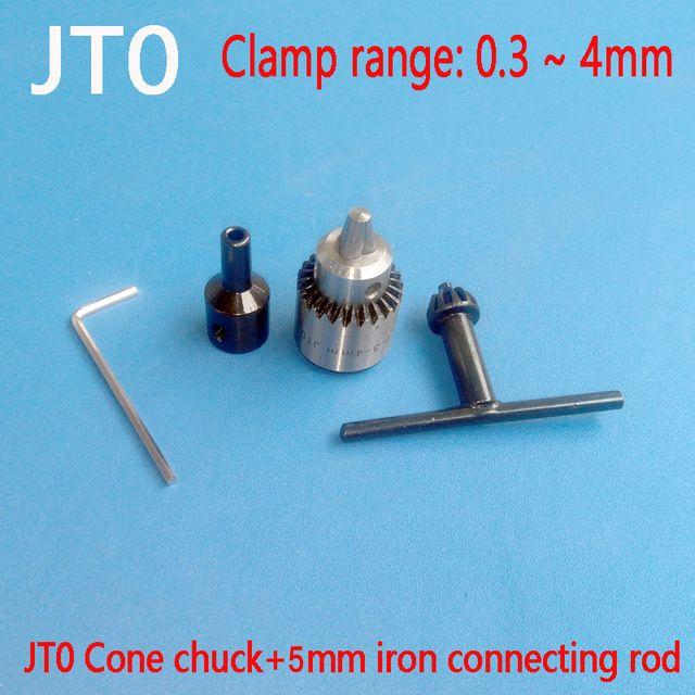 Micro Двигатель дрель Зажимы S зажима 0.3-4 мм JT0 конус установленный дрель Зажимы с Зажимы ключ 5 мм латунь Мини электрические Двигатель вал