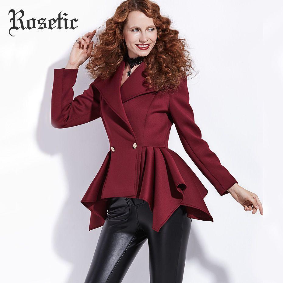 Rosetic Gothic Coat Women Autumn Short Empire Jackets Fashion Outerwear Slim Chic Dark Red Preppy Office Sexy Romantic Goth Coat