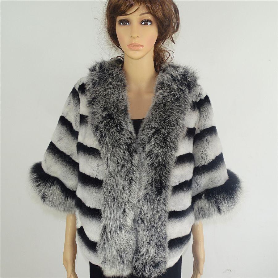 2017 new Lexus chinchilla Rex fur coat Real fur coat for women