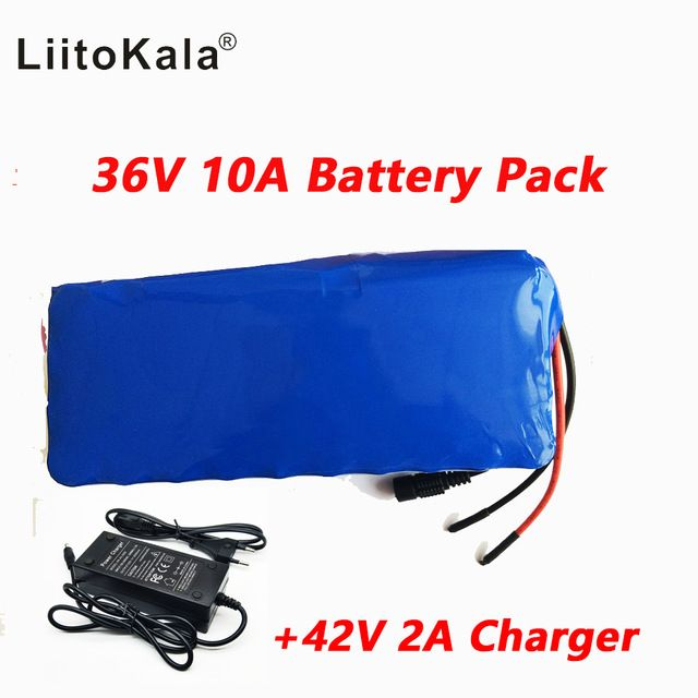 Liitokala 36V 10AH electric car bicycle scooter lithium battery high capacity battery includes the 42V 2a charger