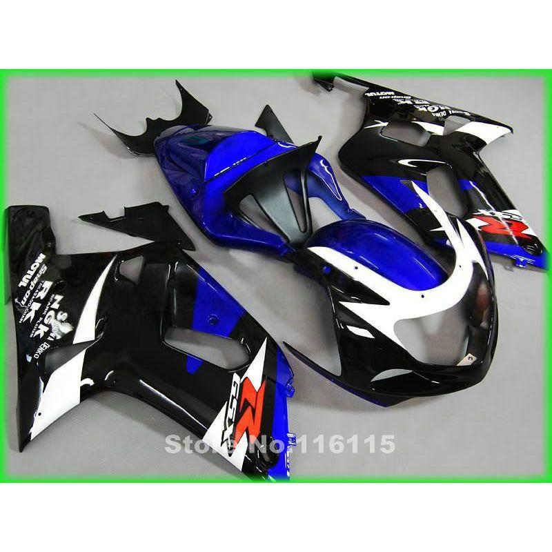 Customize body kit for SUZUKI GSXR600 750 K1 K2 2001 2002 2003 blue white black fairing kit GSXR 600 GSXR 750 01 02 03 fairings