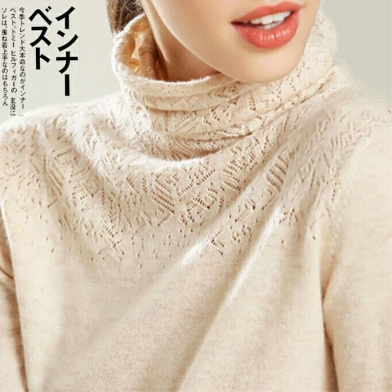 Winter Turtleneck Cashmere Wool Sweaters JECH 2018 New Casual Heaps Collar Women Solid Long Hollows Sleeve Pullovers Knitted