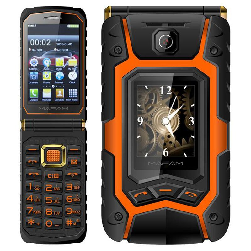 Mampa X9 robuste Flip téléphone Double Double écran Double haut-parleur Double carte SIM à une touche cadran longue veille 2500mAh FM téléphone mobile