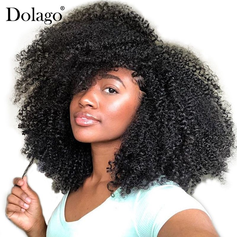 4B 4C Afro Kinky Curly Clip In Human Hair Extensions Brazilian Remy Hair 100% Human Hair Natural Clip Ins Bundle Dolago