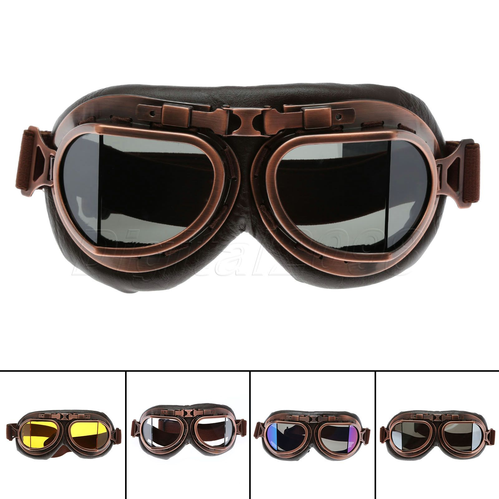 Yetaha WWII RAF Vintage Motorcycle Goggles Harley Motocross Aviator Pilot Cruiser Glasses ATV Dirt Bike <font><b>Motor</b></font> Helmet 5 Colors