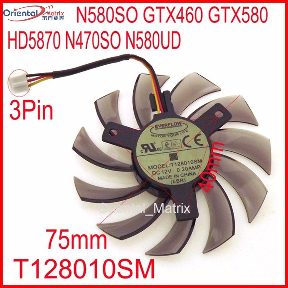Livraison Gratuite T128010SM 12 V 0.20A 3Pin Pour Gigabyte N580SO GTX460 GTX580 HD5870 N470SO N580UD Ventilateur de Carte Graphique