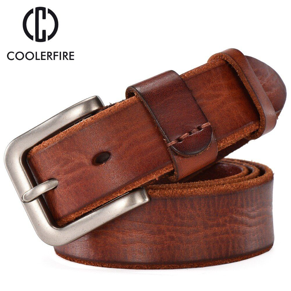Nouveauté 2019 hommes ceinture en cuir véritable décontracté vintage ceintures boucle ardillon en cuir de vachette pleine fleur marron vachette sangles TM008