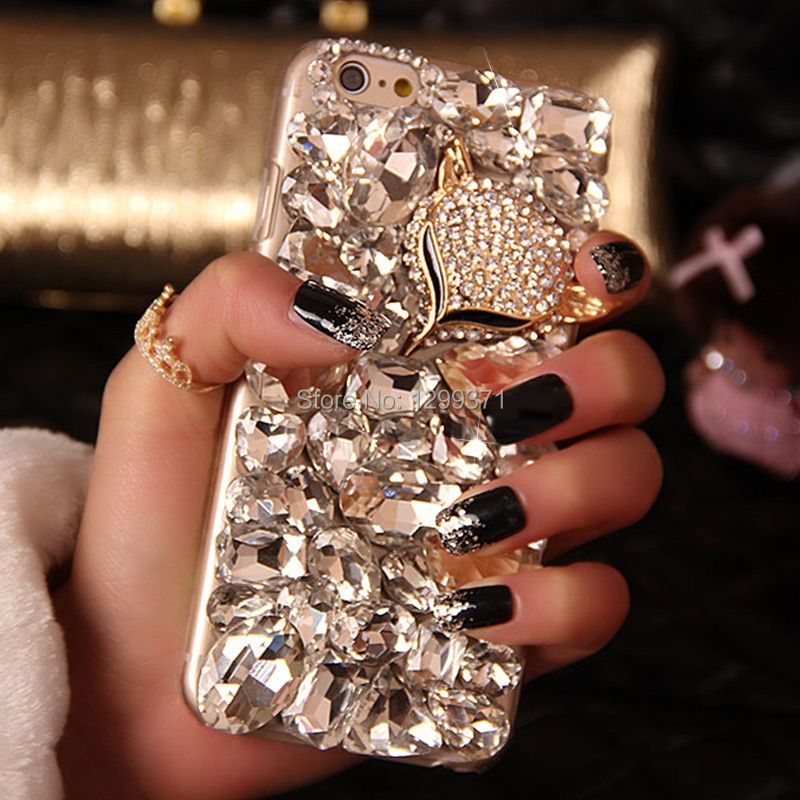 Dower Me Bling Fox Diamond Phone Case For Iphone X 8 7 6 6S Plus 5S 4S Samsung Galaxy Note 8 5 4 3 2 S8 S7 S6 Edge Plus S5/4/3