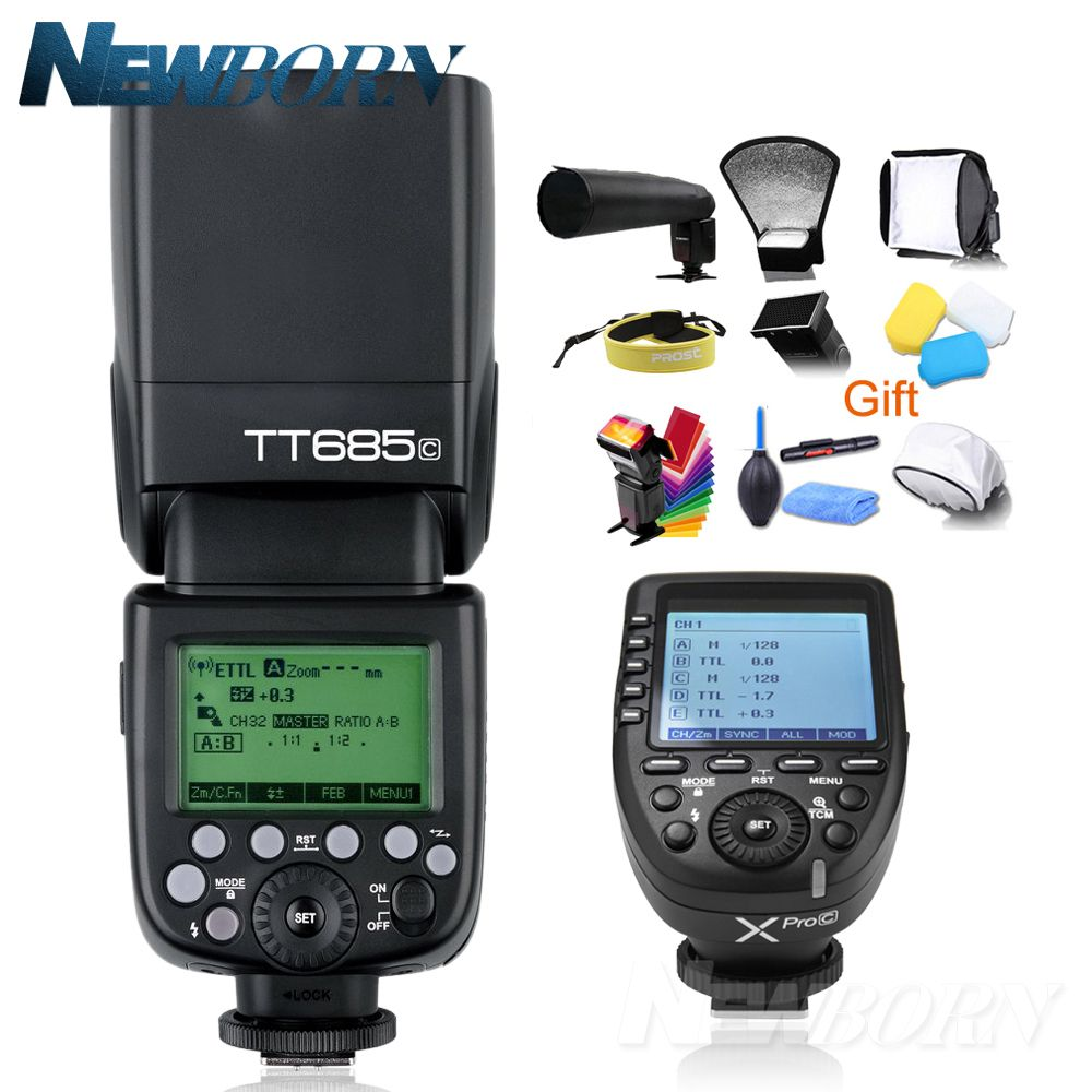Godox TT685C TTL Camera Flash 2.4GHz High Speed 1/8000s GN60 + Xpro-C TTL Wireless Transmitter for Canon Eos Camera+Gift