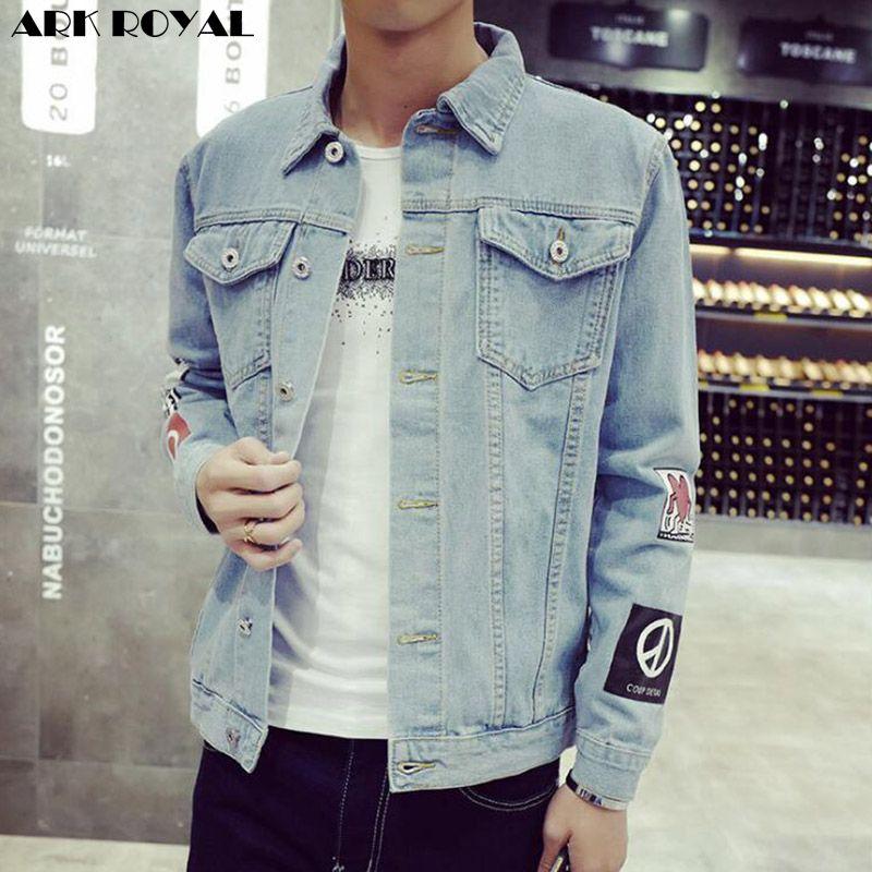 Impresión de la moda chaqueta de mezclilla para hombres Denim Chaquetas Denim escudo abrigos hombres chaqueta de Jean blusa