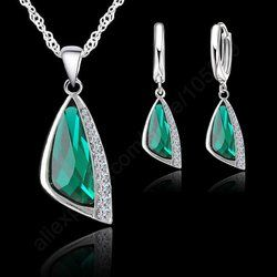 Jemmin  New 925 Sterling Silver Austrain Crystal Pendant Necklace Hoop Earring Set Silver Crystal Jewelry Set Free Shipping Gift