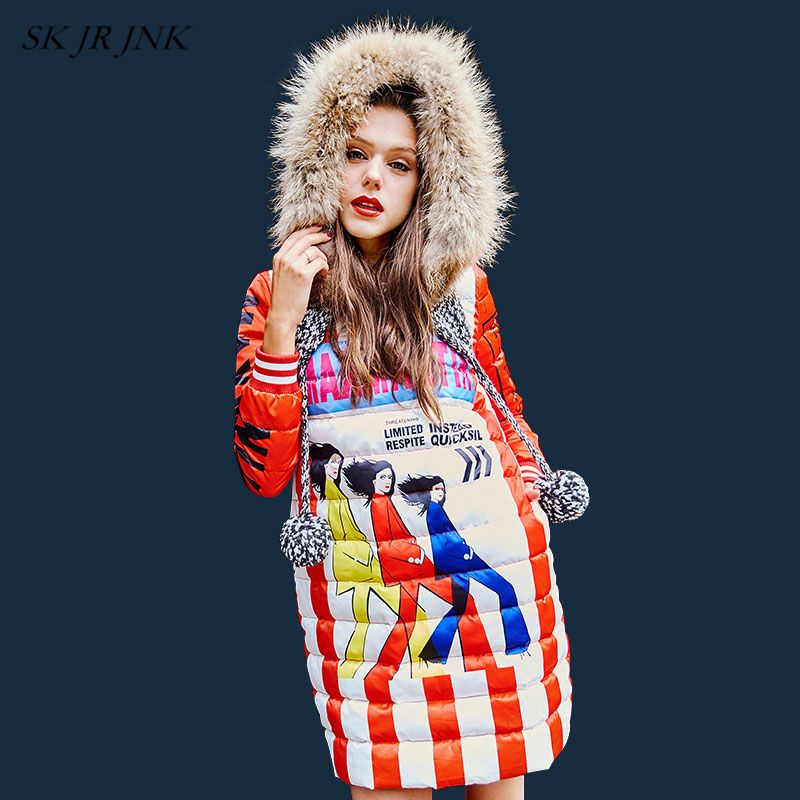 Winter Warm Knitted Fur Collar Hooded Down Jacket Fashion Female Cartoon Print Women Windproof White Duck Down Pullovers LW98