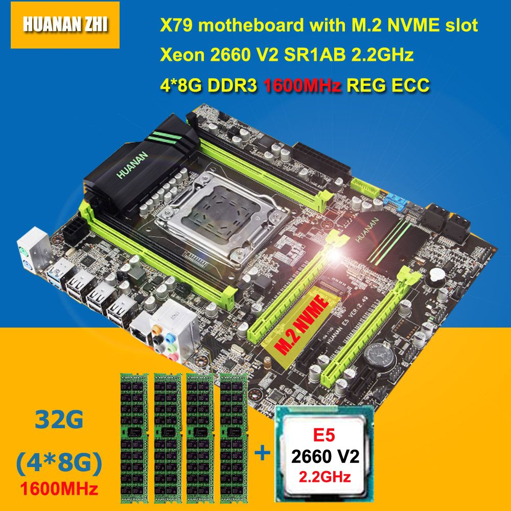 Hot sale HUANAN ZHI X79 motherboard with M.2 NVME slot CPU RAM bundle CPU Intel Xeon E5 2660 V2 SR1AB RAM 32G DDR3 1600 REG ECC