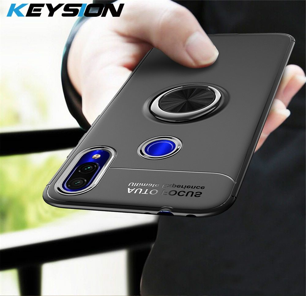 KEYSION Phone Case for Samsung Galaxy A70 A50 A30 A40 A20 A10 Metal Magnetic Ring Holder Soft Silicone TPU Cover for A7 2018 M20