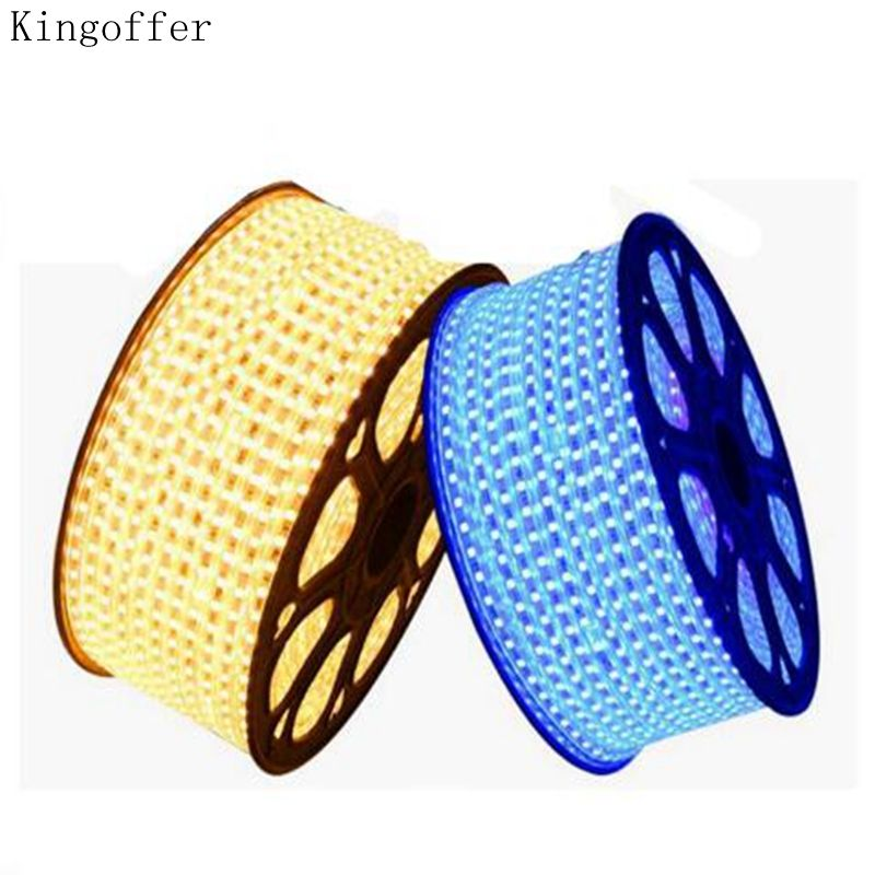 DHL 100m/roll 220V LED Strip 3014 SMD 120leds/m Ribbon Tape flexible rope Light Waterproof IP67 warm white,blue,green,red