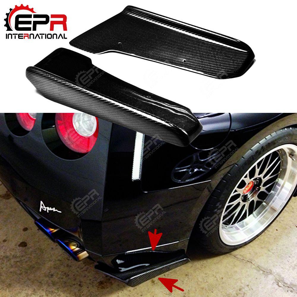 Auto-styling J-Stil Carbon Fiber Hinten Stoßstange Verlängerung Glossy Finish Stoßstange Spat Tuning Splitter Für Nissan R35 GTR 09-10 Coupe