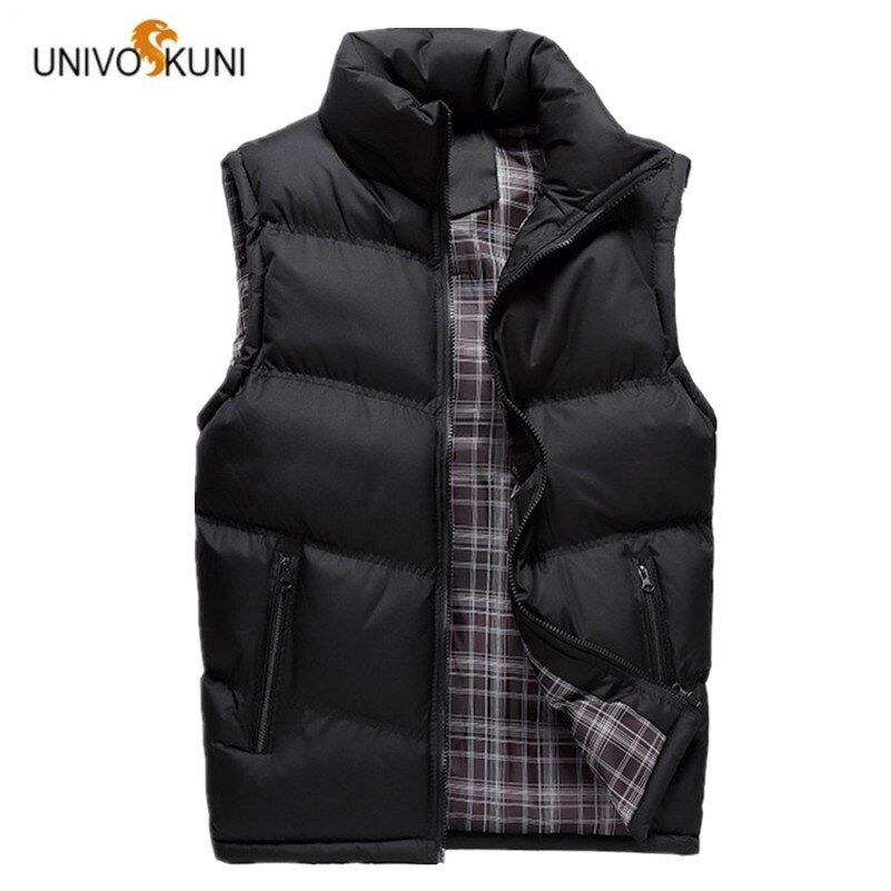 UNIVOS KUNI New 2017 Autumn Winter Man Vests Leisure Fashion Feather Cotton Warm Sleeveless Jackets Man Outerwear Coats O126