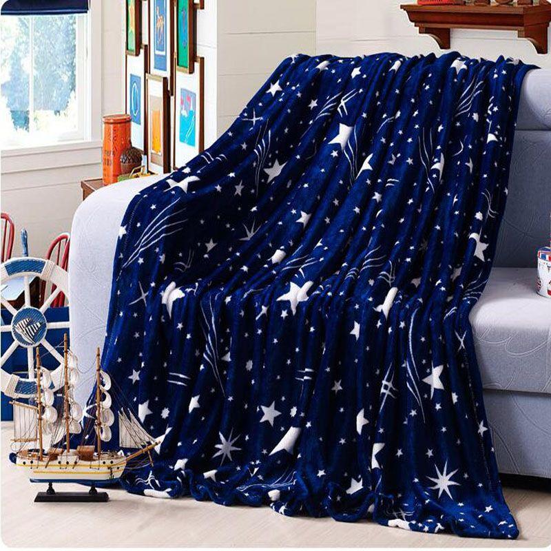 Günstige 200x230 cm Hoher Dichte Super Weich weihnachten fleece winter decke für die sofa bett textile erwachsene sterne decken für betten