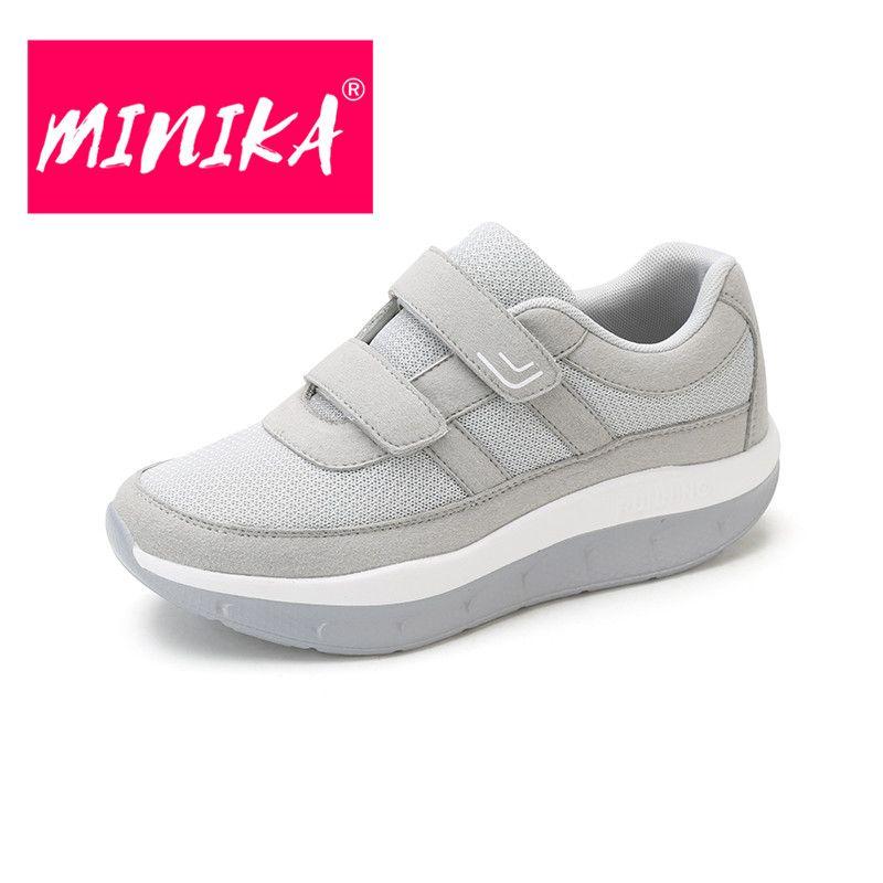 MINIKA Große Größe 35-44 Mode Atmungsaktive Air-Mesh Haken & schleife Keile Schuhe Frau Casual Keine-slip weiche Lightweigh Paar Turnschuhe