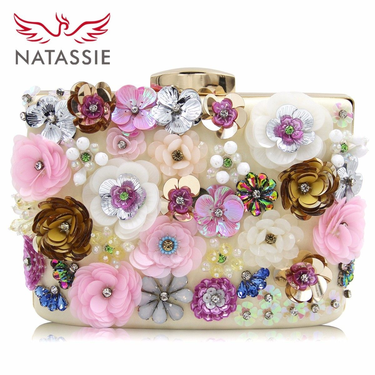 Natassie 2018 New Arrive Women Wedding Clutches Female Day Bags Flower Party Bag Ladies Meeting Day Clutch Purses Good Quality